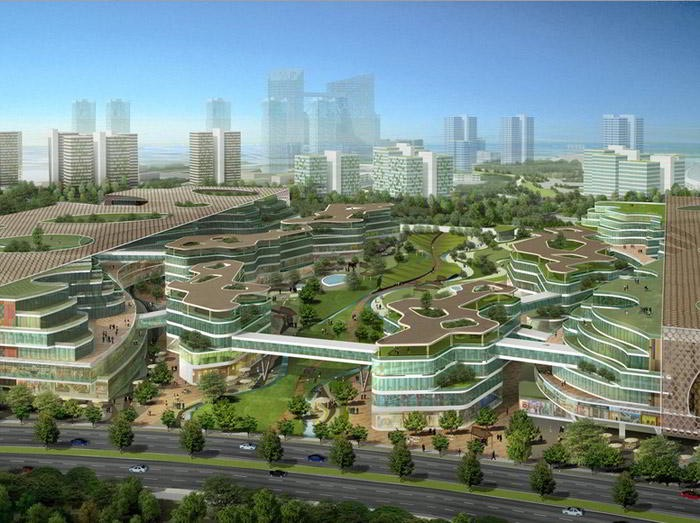 Tianjin eco city in China for 350000 residents  a birdview