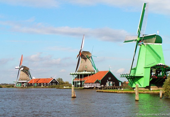 Ancient windmills, Zaanse Schans, The Netherlands