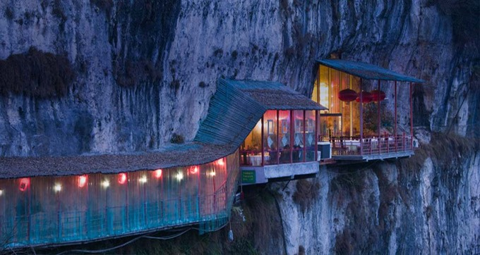 Restaurant near Sanyou Cave above the Chang Jiang river, Hubei , China.