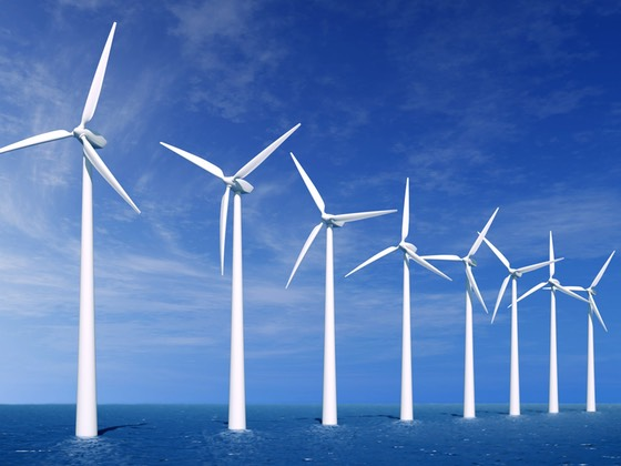 Windmills at sea, green energy